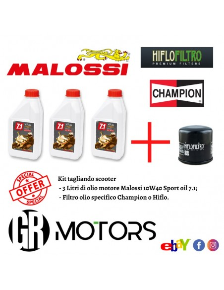 Kit tagliando Malossi 10W40 Sport oil 7.1 Yamaha T-Max 530 dal 2012 al 2016